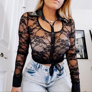 B1 Lace mesh sheer blouse